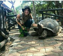 Our SEPer with a 195 year old tortoise ( Prison Island, Zanzibar)